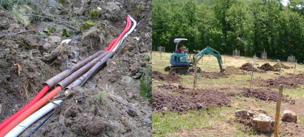 voorbereidend werk voor de camping in Toscane: leidingen en bomen planten